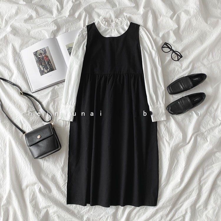 ホワイト/シャツ+ブラック/ワンピース(セット)
